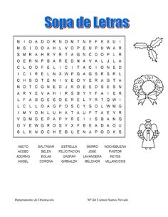 Sopa de letras plantas medicinales andamiratu pinterest - Sopa de letras de navidad ...