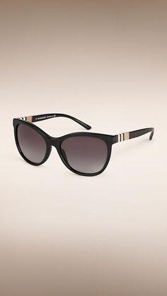 b7840d7d9e8b Black Check Detail Cat-eye Sunglasses - Image 1 Burberry Sunglasses,  Stylish Sunglasses,