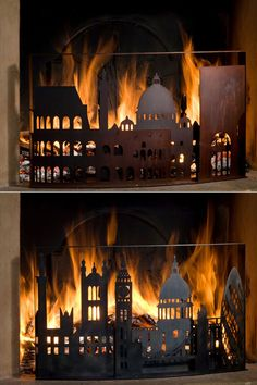 Burning cities – fire guards - I want one in my living room! Fireplace Guard, Fireplace Screens, Home Fireplace, Fireplace Mantels, Fireplaces, Great Fire Of London, The Great Fire, Burning City, My Living Room