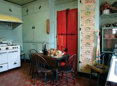 The sweet kitchen at the Anne Spencer House in VA. The colors and textures are wonderful. Norton Anthology, Spencer House, American Poetry, Harlem Renaissance, Wabi Sabi, Beautiful Interiors, House Design, Kitchen, Gardens