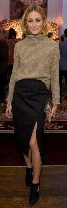 knit + slit skirt + bootie /Olivia Palermo