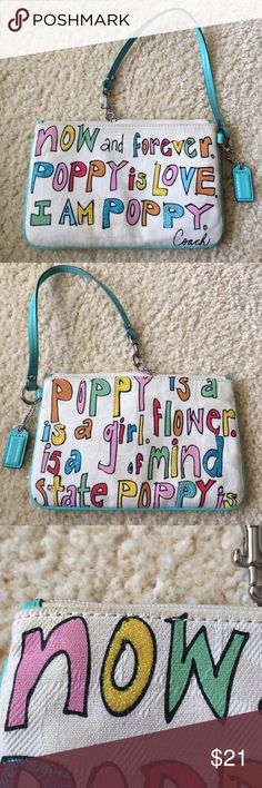 COACH Graffiti Signature Poppy Coin Purse Wristlet COACH Graffiti Signature Poppy Coin Purse  8 inches by 5 inches  Moderate wear and discoloration. Great condition. No stains or tears. Coach Bags Clutches & Wristlets