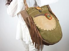 Fringed Shoulder Bag Canvas & Leather/Boho by NeroliHandbags