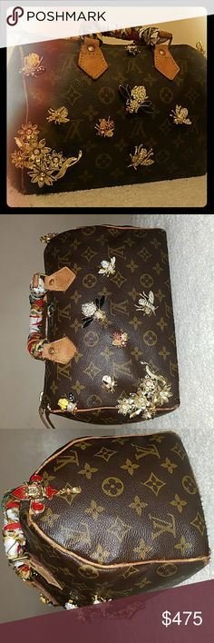 Vintage Revamped Louis  Vuitton Speedy 25 VINTAGE ENTHUSIASTS!!!!!!!! YOU WILL LOVE THIS GEM!!!   PLEASE READ DETAILS.....This bag has cracked piping. Rubbed  and dark handles.  Four bottom corners are torn.  It was bought to revive!!. Canvas imperfections were covered with decorative bee pins.   Inside is intact but has an ink stain.  The bag comes with a red leather base shaper!!  Note:  the bag still shows wear but has been polished  to shine again.  Ask questions before purchasing. Louis…