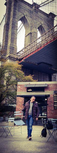 Finding a Seat Underneath the Brooklyn Bridge, New York City #nyc #ny