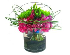 Fuschia, green and teal centerpiece #cactus flower