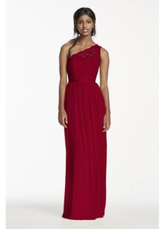 David's Bridal Long One Shoulder Lace Bridesmaid Dress  F17063  This was Abby's favorite at DB, right?  Comes in Biscotti, Plum, and Lapis