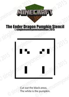 The Ender Dragon Minecraft free pumpkin stencil ©singlemummyoneinamillion 2015 Stencils For Kids, Free Stencils, Pumpkin Stencil, Minecraft, About Me Blog, Dragon, Halloween, Free Printable Stencils, Dragons