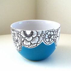 Ceramic Bowl Flowers Blue Black White Botanicals Painted Floral Turquoise Housewarming Wedding Gift  by sewZinski.