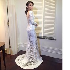 """BEST DRESSED. KATHRYN BERNARDO All hail the Teen Queen @bernardokath in a custom white @michael5inco gown for the #9thStarMagicBall…"""