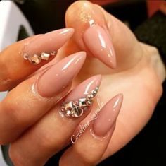 Nude Stiletto Acrylic Nails w/ Rhinestones