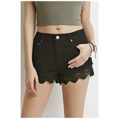 Women's Fashion Lace Ripped Hole Denim Jean Mini Shorts High Waisted (620 MXN) ❤ liked on Polyvore featuring shorts, micro shorts, high waisted lace shorts, ripped shorts, hot shorts and high waisted shorts