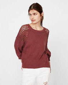 mesh shoulder crew neck sweater