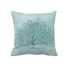 Aqua Peacock Throw Pillows