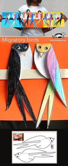 Migratory birds - Made of paper The Effective Pictures We Offer You About summer crafts A quality picture can tell y - Kids Crafts, Summer Crafts, Projects For Kids, Diy For Kids, Arts And Crafts, Paper Crafts, Classe D'art, Migratory Birds, Art N Craft