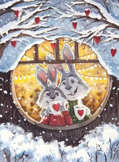 by Ema Malyauka New Year Illustration, Valentines Illustration, Winter Illustration, Christmas Illustration, Cute Illustration, Christmas Drawing, Christmas Art, Winter Pictures, Christmas Pictures