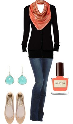 Black cardigan, aqua earrings and coral scarf/nail polish with jeans - cute and simple!
