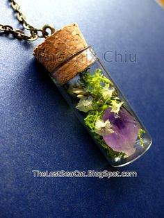 Miniature terrarium necklace Terrarium jewelry Raw by phoenixchiu