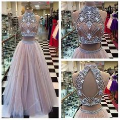 AHP025 High Neck Two Pieces Prom Dress A-line Champagne Tulle Beaded Bodice Formal Dress