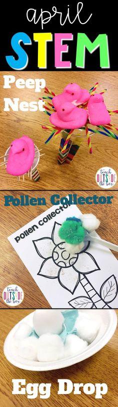 3 Low Prep Spring Themed STEM Challenges: Peep's Nest, Pollen Collector, Egg Drop | Easter STEM Activities | Elementary STEM | April STEM Challenges | Kindergarten, First Grade, Second Grade, Third Grade, Fourth Grade, Fifth Grade