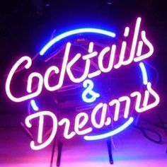 HOZER Professional 17*14 Cocktalls And Dreams Design Decorate Neon Light Sign Store Display Beer Bar Sign Real Neon Signboard for Restaurant Convenience Store Bar Billiards Shops - - Amazon.com