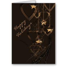 Happy Holidays, Hearts and Stars Card