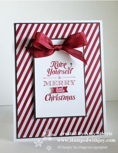 Simple classy christmas card - Stampin Up Season of Style Dsp stack plus Merry Little Christmas stamps