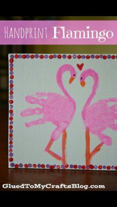 Creative DIY Holiday Gift Ideas for Parents from Kids Handprint flamingo. This kid canvas craft is easy to make, but it's meaningful for parents as a Valentine's Day gift. It's a great keepsake for years to come. Kids Crafts, Daycare Crafts, Baby Crafts, Preschool Crafts, Craft Projects, Daycare Rooms, Craft Kids, Project Ideas, Diy Holiday Gifts