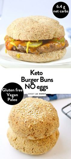 Low carb burger buns are easy homemade gluten free keto bread buns with a soft brioche texture. No yeast or eggs in those buns only nourishing almond flour, coconut flour and psyllium husk for a 100% Vegan and paleo burger. Paleo Burger, Low Carb Burger Buns, Keto Buns For Burgers, Burger Bread, High Protein Snacks, Bread Bun, Keto Bread, Keto Bagels, Almond Recipes