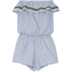 LemLemAmara Embroidered Striped Cotton-blend Playsuit ($300) ❤ liked on Polyvore featuring jumpsuits, rompers, playsuit, dresses, one piece, blue, beach jumpsuit, romper jumpsuit, beach rompers and playsuit romper