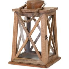"Walk the foggy moors and watch for the sea captain to return with a wood lantern fit for the cover of an historical novel. - Dimensions: 16.75""H x 11""W x 11""L - Material: Mango Wood, Glass, Jute - Shi"