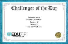 Mock Test Paper of the Day 27-03-2016 | Eduzip