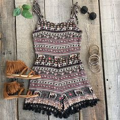 Cupshe Fray For Me Ethnic Printing Romper