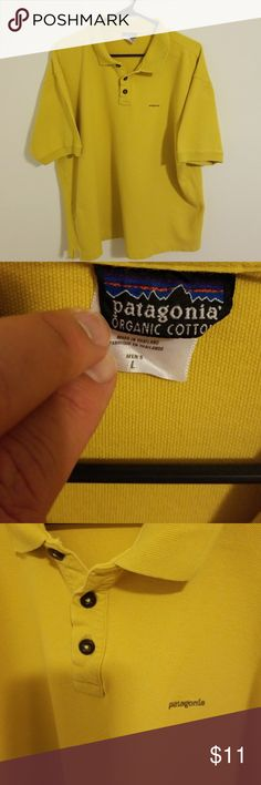 Men's Patagonia polo.  Large Organic cotton.........who doesn't love organic cotton  ?  Not perfect condition but it's organic.  Love it. Patagonia Shirts Polos