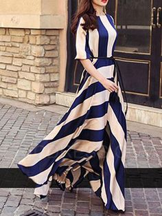 Ericdress Stripe Expansion Half Sleeve Maxi Dress Maxi Dresses