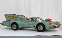 The Atom Jet Racer was built in the by Japanese toy maker Yonezawa Metal Toys, Tin Toys, Wooden Toys, Toy Rocket, Cheap Toys, Japanese Toys, Retro Ads, Vintage Tins, Retro Futurism