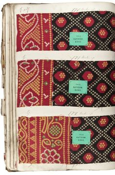 Three samples of block printed cotton cloths with geometric patterns imitating the traditional tie dye technique. All three have grid or trellis patterns on a black ground in the filling and imitation tie dye borders. Part of the Turkey Red Collection. 1870-1899