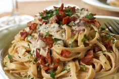 Fettuccine Alfredo with Pancetta - if you are a pasta lover like me, you will fall in love with this recipe!