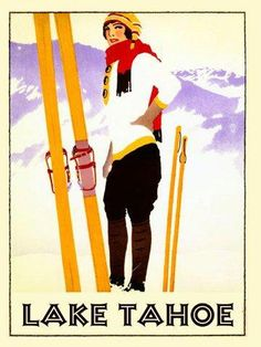 "Amazon.com: Lake Tahoe California Lady Girl Skiing Ski Snow Mountain Winter Sport Poles Race Skis 20"" X 30"" Image Size Vintage Poster Reproduction , We have other sizes available !: Home & Kitchen"