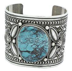 Andy-Cadman-Kingman-Turquoise-Bracelet-Sterling-Silver-Signed-Navajo-7-in