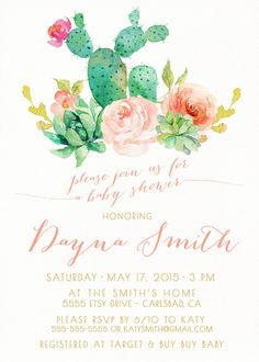 Girl Baby Shower Invitation, Succulent, Watercolor, Flowers, Boho Baby Shower Invites