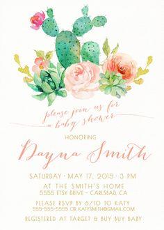 Girl Baby Shower Invitation, Succulent, Watercolor, Flowers, Boho Baby Shower Invites