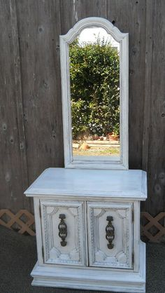 shabby chic white table with mirror by PerfectlyGoodStuff on Etsy, $225.00