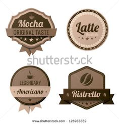 search for coffee photo's | Coffee Vintage Labels logo template collection. Cafe Retro style ...