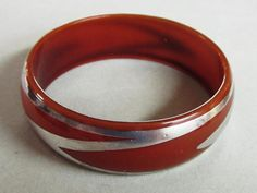 Art Deco Plastic Silver Overlay Bangle Cuff Bracelet by COBAYLEY