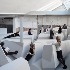 Medical research suggests that too much sitting down can be bad for your health, so RAAAF and Barbara Visser have developed an experimental office that encourages workers to lean, perch or even lie down.