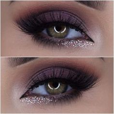 Mascara allows you to darken and extend your eyelashes to true movie starlet glamour, and forms the central piece of many women's make up bags. Get the most from this essential bit of make up kit with these three essential mascara tip Purple Smokey Eye, Smokey Eye Makeup, Skin Makeup, Beauty Makeup, Makeup Eyeshadow, Eyeshadows, Smokey Eye With Glitter, Purple Glitter, Eyeshadow Ideas