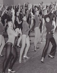 Rockettes rehearsing in the 70s! Possibley getting ready for Thanksgiving parade??