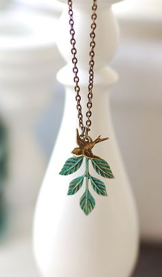 Swallow Bird and Teal Blue Verdigris Patina Leaf Necklace. Brass Bird Swarovski Pearl Patina Brass Leaf Necklace. Vintage  Nature Inspired by LeChaim,  https://www.etsy.com/shop/LeChaim
