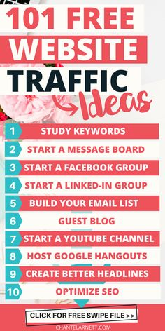 Struggling to get traffic for your online business or blog? With these 101 Free Website Traffic Ideas, you'll have all the tips you need to get the website traffic increase you want!